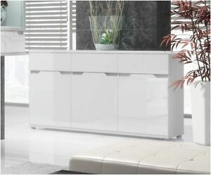 Aspire High Gloss White Lounge Furniture Sideboard TV Unit Tall Display Cabinet