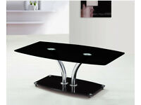 Delphi Black Glass with Chrome Frame Coffee Table r.r.p £150