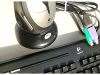 LOGITECH wireless desktop combo: Keyboard +Optical mouse +charging dock/ reciever USB or PS2