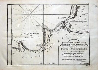 AFRICA, ANGOLA, BENGUELA,LOBITO, R.CANTONBELLE. Bellin antique sea chart c1750
