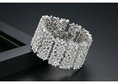 18K White Gold Plate 50 Carat CZ Custom Made Deco Style Bracelet
