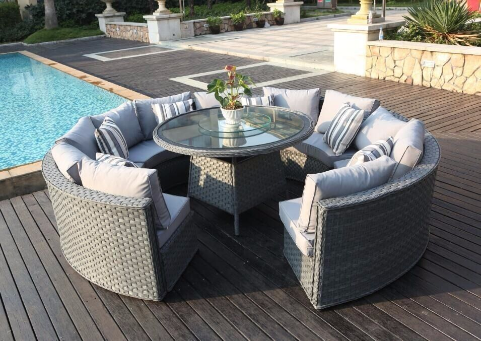 monaco 10 12 seater round rattan outdoor patio garden furniture dining table set in burnage