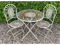 Vintage Cast Wrought Iron Garden Bistro Set Matching Table & Chairs - Beautiful!
