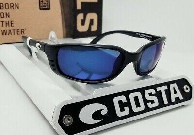 COSTA DEL MAR matte black/blue mirror BRINE POLARIZED 580P sunglasses! (Costa Del Mar Brine Sunglasses)