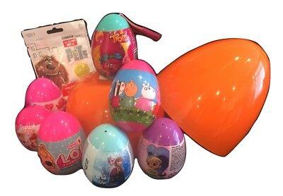 """Giant jumbo 8"""" PLASTIC SURPRISE EGG W/ 7 Eggs, BlindPk, Peppa, Princess, Trolls! (Jumbo Plastic Egg)"""
