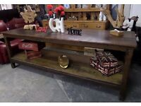 HUGE Vintage 8' Rustic Shabby Chic Pitch Pine Industrial Table Bench - UK Delivery