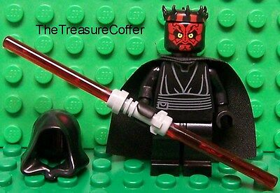 Lego Star Wars Darth Maul W  Dual Lightsaber  Cape  Hood   Horns New