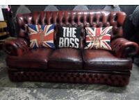 Stunning Chesterfield 3 Seater Monk Back Sofa Oxblood Red Leather - UK Delivery