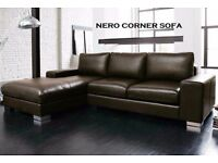 ITALIAN NERO LEATHER CORNER SOFA BLACK OR BROWN