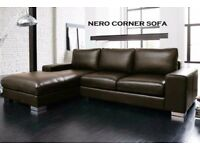 BRAND NEW LEATHER CORNER SOFA BLACK OR BROWN