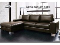 **NEXT DAY DELIVERY **FREE CHROME FEET**BRAND NEW MODEL NERO LEATHER CORNER SOFA