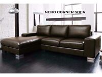 NEXT DAY DELIVERY BRAND NEW NERO LEATHER CORNER SOFA SPECIAL OFFER