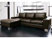 NEXT DAY DELIVERY **FREE CHROME FEET**BRAND NEW MODEL NERO LEATHER CORNER SOFA