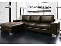 BRAND NEW LEATHER NERO CORNER SOFA + DELIVERY