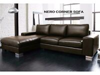 **FREE CHROME FEET**BRAND NEW MODEL NERO LEATHER CORNER SOFA ACK OR CHOCOLATE BROWN