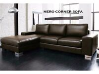 ITALIAN Leather corner sofa black or brown fast delivery