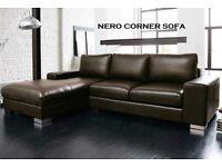 BRAND NEW LEATHER NERO CORNER SOFA BLACK OR BROWN + DELIVERY