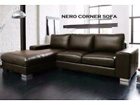 BRAND NEW NERO LEATHER CORNER SOFA SPECIAL OFFER