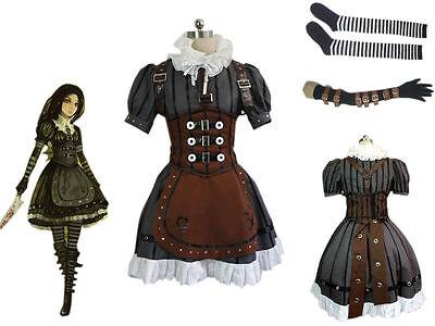 Alice Madness Returns Alice Stream Full Set Cosplay Costume Dress Halloween