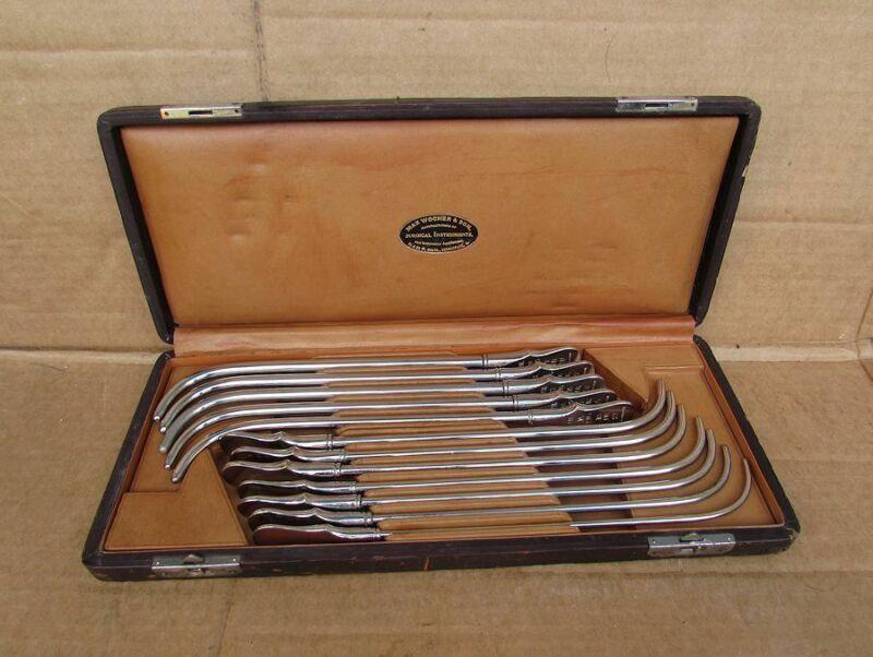 Vintage Surgical Sound Urethral Probe Set w.case Nickel Plate Brass Cincinnati