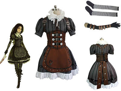 Alice Madness Returns Alice Stream Cosplay Costume Dress Halloween Suit :we