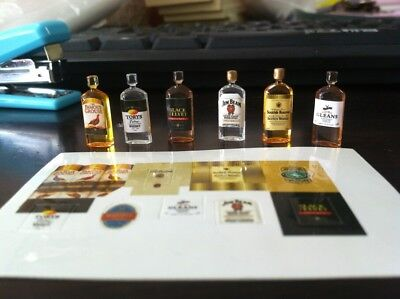 6 Dollhouse Miniature 1:12 Wine Whiskey Bottles Set Shop Pub Bar Drink Accessory