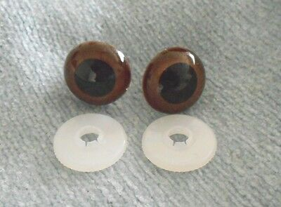 TEDDY BEAR/DOLL EYES BROWN- 1 pair 30MM W/SAFETY LOCKS