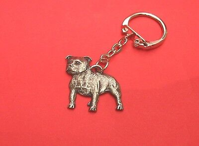 Staffordshire Bull Dog Terrier Pewter Key Ring FREE POUCH Great Gift NEW