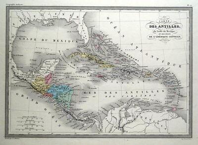 WEST INDIES, CENTRAL AMERICA, CARIBBEAN, Malte Brun original antique map c1850