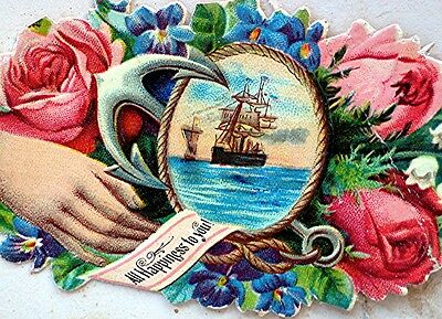 "Diecut & Embossed Victorian Card - ""All Happiness to you!"" - Tall Ship & Flowers"