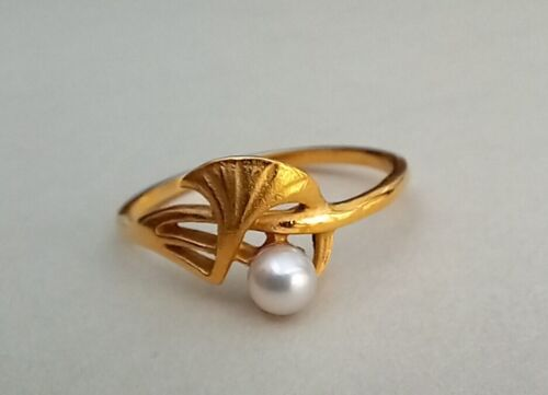 French Antique Art Nouveau Silver Gilt PEARL Ginkgo Ring c.1900