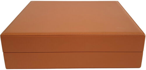 Tan Brown Leather Covered Cedar Lined Cigar Humidor For Up To 25 Cigars