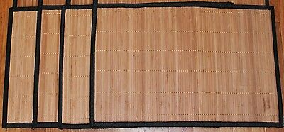 Bamboo Placemat (Lot SET 4 Natural Color Bamboo Wicker Place Mats SET Hemmed Edge 12x18