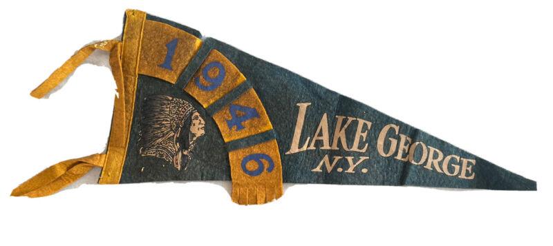 RARE Vintage LAKE GEORGE NY Felt Flag Pennant Collectors Aesthetic