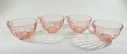 Vintage Hocking Glass Co. Pink Block Optic Set of 4 Tea Cups Depression Glass
