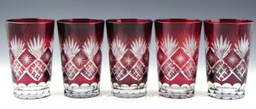 """Vintage Bohemian RUBY RED CUT TO CLEAR Crystal 5.5"""" HIGHBALL TUMBLERS Set of 5"""