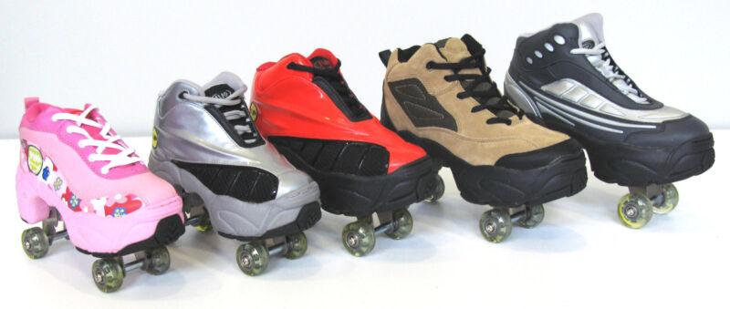 Quad KICK ROLLER Skates retractable WALKnROLL in//outdoor ORIGINAL BNIB SLV//GREY