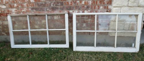 VINTAGE SASH ANTIQUE WOOD WINDOW PICTURE FRAME 25 x 42 SET #7