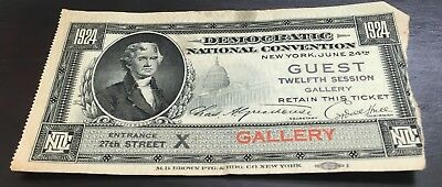 1924 Democratic National Convention Gallery Ticket