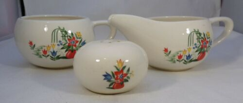 Vintage Paden City Creamer & Sugar & 1 Salt Pattern PCP70 Green Trellis Flowers