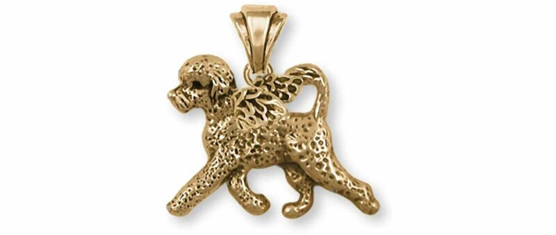 Portuguese Water Dog Angel Jewelry 14k Gold Handmade Portuguese Water Dog Pendan
