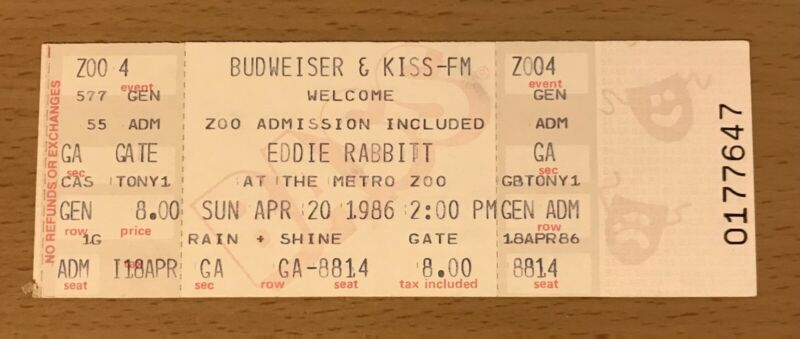 1986 EDDIE RABBIT MIAMI CONCERT TICKET STUB I LOVE A RAINY NIGHT YOU AND I  7647