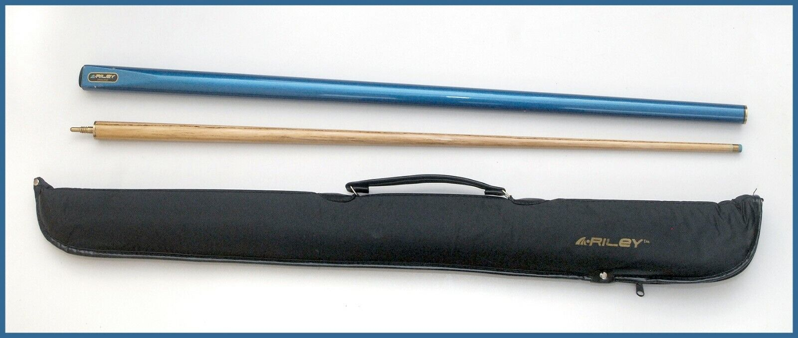 Riley Metallic Turqoise / Blue 2 Piece Ash Snooker and Pool Cue 17oz + Case