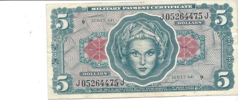MPC Series 641 $5 dollar 3rd printing   ABOUT UNC   NO  pin holes