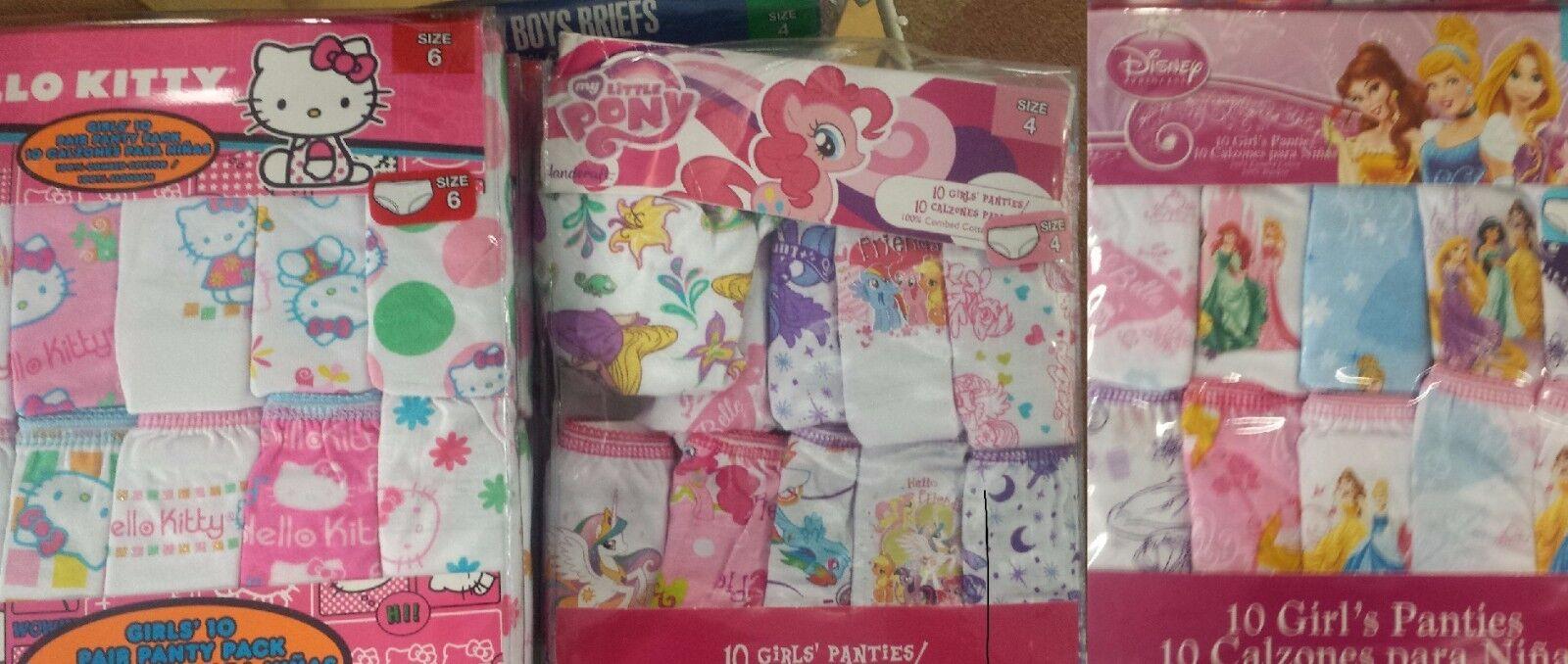 Hello Kitty Disney Princess My Little Pony 10 Girls Underwea