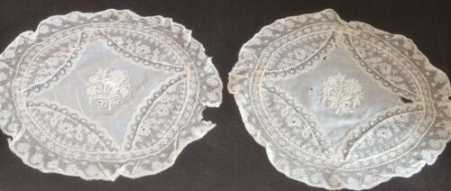 2 Vintage French NORMANDY LACE DOILIES Table Rounds VV184