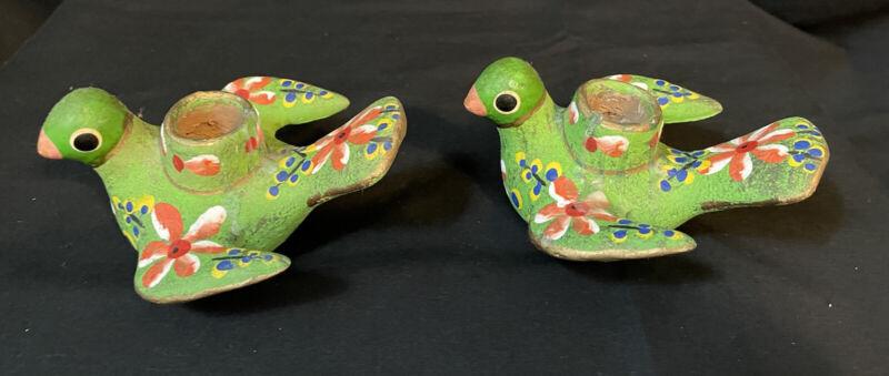 2 Vtg Multi Color Distressed Dove Bird Taper Candle Holders