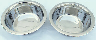 Set 2 Embossed Stainless Steel Healthy DOG PET Water Food Bowls 1 Quart qt 32 oz