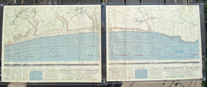 *authentic* WWII Omaha Beach Bigot Maps (east And West)