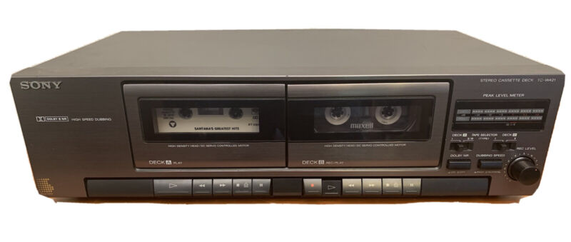 Vintage 90s Sony TC-W421 Double-Dual Cassette Tape Deck Recorder-Player TESTED